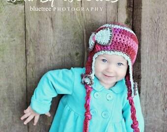 Toddler Crochet HaT Pattern:  'Blueberry Kisses' Crochet Earflap Hat, Crochet Bow
