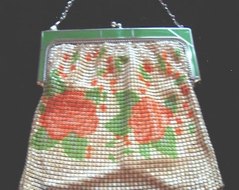 1920s Whitting Davis Signed Deco Design Painted Mesh Pursed  Satin Lined  Perfect Cond. Item #91   Purses
