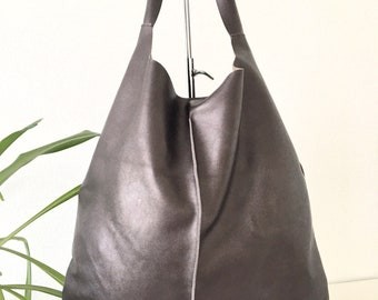 metallic brown, Leather hobo bag, Shopping bag, Laptop bag, Handbag, Everyday bag, Large bag, Slouchybag, shoulder bag