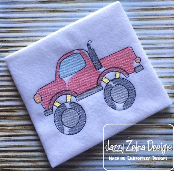Monster truck sketch embroidery design - truck sketch embroidery design - boy sketch embroidery design