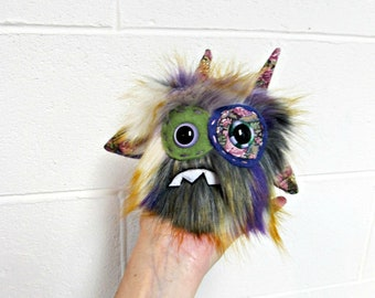 Worry Monster Plush - Handmade Minor Monster Plush - Purple Gray Faux Fur - OOAK Plush Monster - Small Plush Toy - Weird - Nervous Plush Toy