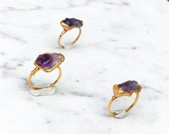 Horizontal Raw Amethyst Ring, Yellow Gold Natural Amethyst Ring, Bohemian Ring, Raw Stone Ring, Raw Crystal Ring, Rough Amethyst Ombre