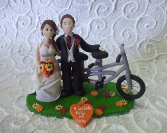 custom bride and groom with tandem wedding cake topper
