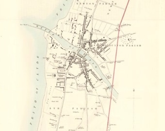 Ayr and Suburbs, old town plan   Fine Art Print   Vintage map of Ayrshire near Alloway, Scotland old town map from 1830's
