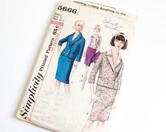 SIZE 11 5666 JUNIOR WOMEN'S Simplicity Sewing Pattern 1960s Vintage Bust 31.5 Suit Jacket Skirt Blouse Shirt Ladies Womens Mad Men Mod Girls