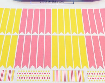 36 Flag and 4 Washi Planner Stickers- Pink Lemonade Flag Washi Stickers- perfect in your Erin Condren planner, wall calendar or scrapbook