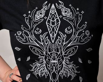 Silver Stag Spirit Screen Printed Tee