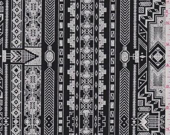 Black/White Aztec Stripe Brocade, Fabric By The Yard