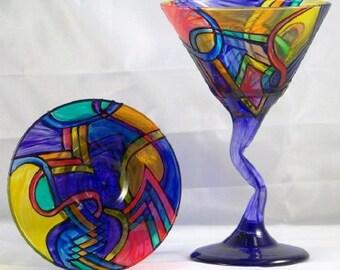 Brite, hand-painted Brite Z-stem martini glasses