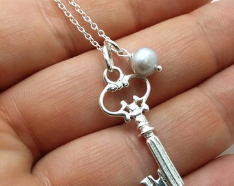 Sterling Skeleton key necklace - sterling silver antique style skeleton key - key pendant - key jewelry - antique fancy key - pearl charm