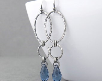 Long Dangle Earrings Silver Drop Earrings Blue Crystal Earrings Geometric Jewelry September Birthstone Jewelry Gift for Her - Adorned Aubrey
