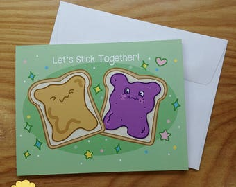 Peanut Butter and Jelly Valentines Day Note Card - Kawaii Foods Cartoon Greeting Card