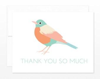 Bird Thank You Card - Cute Pastel Robin - Wedding, Baby Shower, Gift Thanks