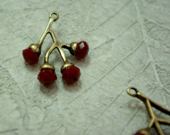 red beads branch pendant