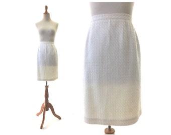 L White skirt, white vintage skirt, winter white skirt , ivory skirt, cream skirt, large vintage skirt, pencil skirt, womens white skirt
