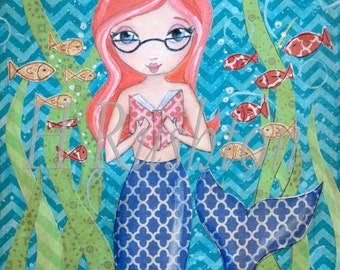 Mermaid Decor - Book Loving Mermaid- Mermaid Art- Reading Mermaid- Mermaid with glasses  - Print Sizes 5x7 or 8x10   by HRushton