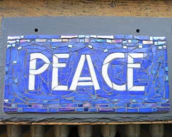 MADE TO ORDER Peace Mosaic Sign in Arts and Crafts Style