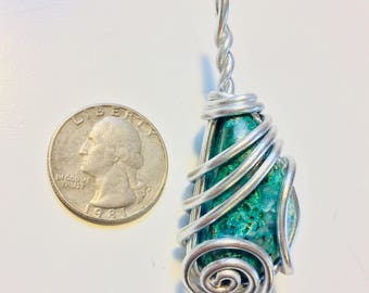 Chrysocolla wire wrap, wire wrapped chrysocolla, chrysocolla necklace, chrysocolla pendant, chrysocolla jewelry, wire wrapped jewelry