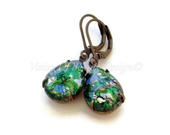 Vintage Emerald Green Opal Lever Back Earrings, Clip On Available, Christmas Gift