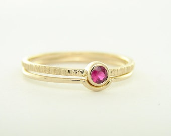 Wedding Set - Ruby Ring with Thin Simple Gold Ring - 14k Gold Ring