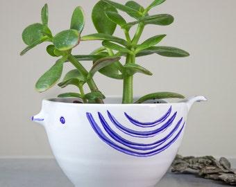 White Bird ceramic planter, large succulent planter, handmade modern pottery cactus planter, blue feathers flower plant pot