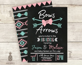 Bows or Arrows? Chalkboard Inspired Baby Gender Reveal Invitations - Colors Used: Black Chalkboard, White, Aqua and Pink