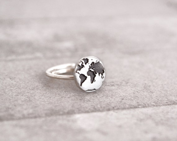 World map ring travel gift travel ring gift for women gumiabroncs Gallery