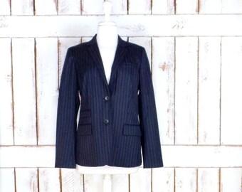 Vintage blue/grey pinstripe fitted wool blazer jacket/womens wool mens style blazer