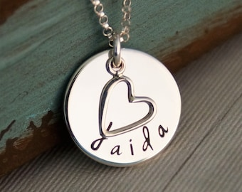 Personalized Jewelry - Hand Stamped Necklace - Sterling Silver -  Name tag with heart - My Sweet Heart
