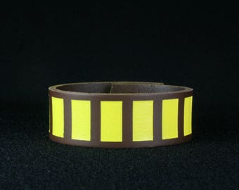Yellow Blood Stripes Cuff Star Wars Han Solo inspired leather cuff bracelet laser etched hand painted Corellian Blood Stripes