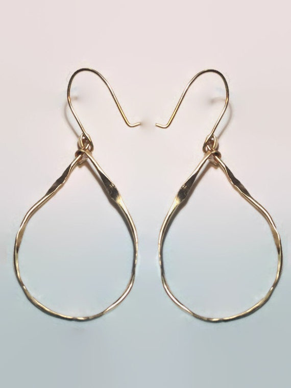 Organic Teardrop Hoops - Large