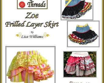 INSTANT DOWNLOAD: Zoe Frilled Layer Skirt - DiY Tutorial PdF eBook Pattern - Lengths from 9 inch and up for sizes from 2T to 8/10