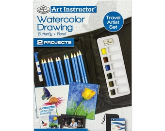 Art Instructor-Watercolor Drawing Kit - 2 Projects, 26 Pc