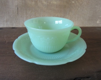Fire King Jadeite Alice Tea Cup and Saucer Set, Anchor Hocking