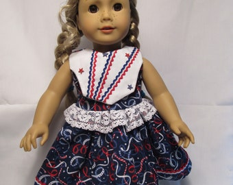 Fourth of July Dress for American Girl, Maplelea, Our Generation Dolls