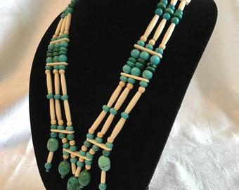 Turquoise and bone hair pipe necklace, bone feather pendant, boho, native inspired, pow wow regalia, modern american indian, white leather