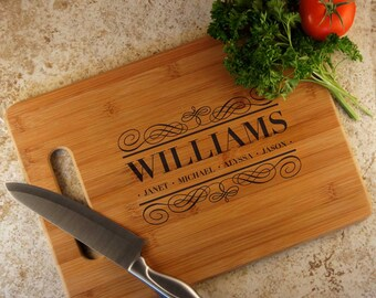 Personalized Cutting Board with Family Monogram Design Options and Font Selection (Each - Select Board Size)