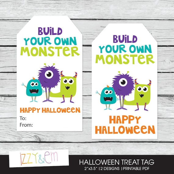 Items similar to Halloween Favor Tag - Halloween Gift Tag - Build ...