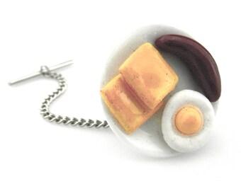Miniature Food tie tack - Food Deco Tie tack - Egg Sausage Toast Breakfast Tie Tack - Chef Tie Tack - Cook Tie Tack - Waiter Tie Tack