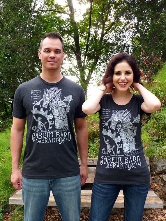 DnD Gift, Matching Tshirt, Gamer Gifts, DnD Dice, D20 Dice, RPG, Dragon Tshirts, Gamer Shirts, Couples Gift - Goblin Bard Brandy Tshirts