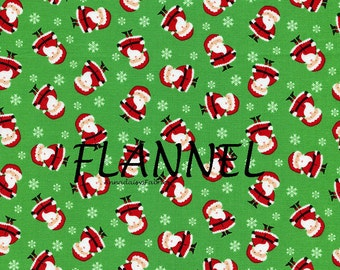 Santa Claus Flannel Fabric, Timeless Treasures Mini CF2250, Tossed Mini Santas Flannel, Christmas Quilting Flannel, Cotton Flannel