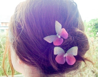 Delicate handmade pink butterfly hairpin, organza butterfly pin hair accessory