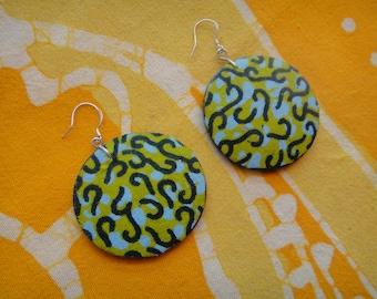 Vibrant African Summer Fabric Earrings Batik Wax Print Tie Dye Hippie Boho