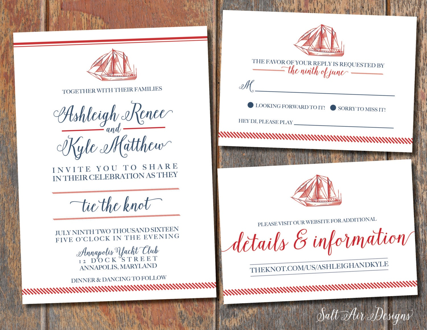 Printable Nautical Wedding Invitation Suite. Sailboat. Red