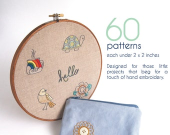Hand Embroidery Patterns, QUICK STITCH Hand Embroidery Patterns, 60 mini patterns for your next DIY project, embroidery design collection