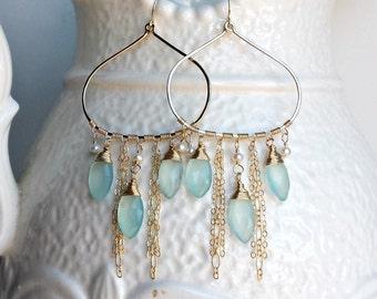 Aqua Chandelier Earrings, Aqua Gemstone Hoops, Chalcedony Hoop Earrings, Boho Chandelier Hoops, Bollywood Hoops