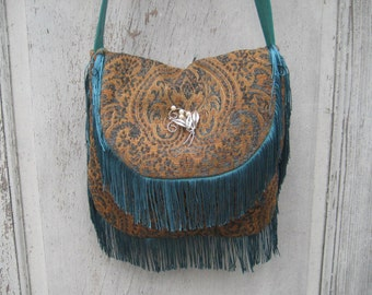 Teal Chenille bags and purses, bohemian gypsy bag, turquoise boho crossbody purse