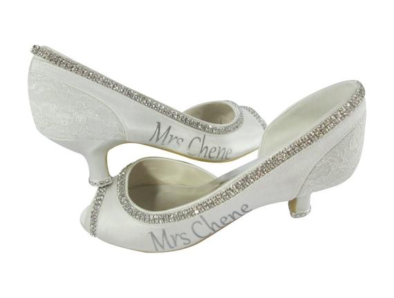 Bride name Satin Heels Pump Bling Stiletto Heel Rhinestone High Gift New Wedding Last Bridal Mrs Shoes Ivory diamond Toe Personalized Peep gqtZwx6TU
