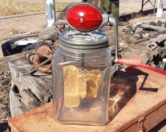 Dazey Churn No4 - 4QT - Model B - Glass Hand-Crank - Made In The U.S.A - Dazey Churn Company United States - Recycled Antique Butter Churn