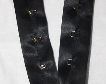 "1 yard Black Satin Shiny Gold Metal hook eye tape Corset closure 1"" 2"" wide"
